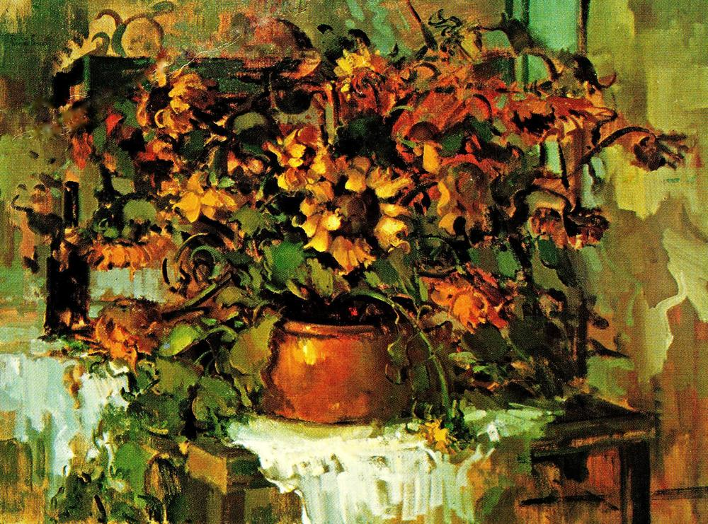 Sunflowers with copper pot, 1970