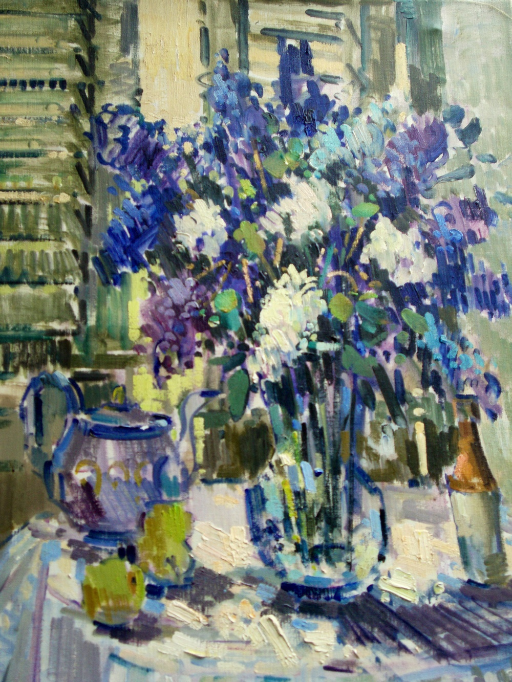 """Lilacs"" created in 1976 Oil on canvas. Dimensions 36"" H x 30""W ."