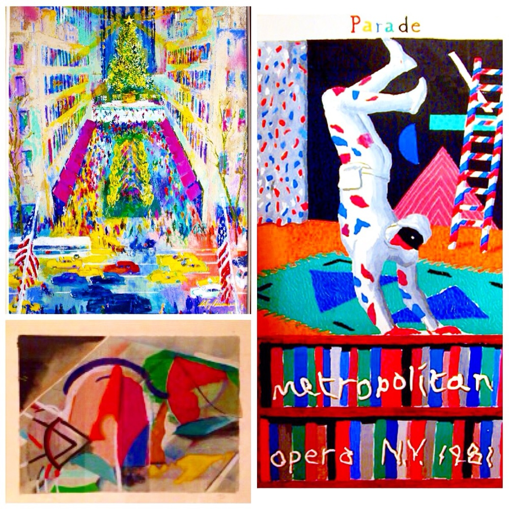Davide Hockney, Leroy Nieman and Tony Haller serigraph limited edition prints in a collage as an instagram post @vincentfarrellgallery
