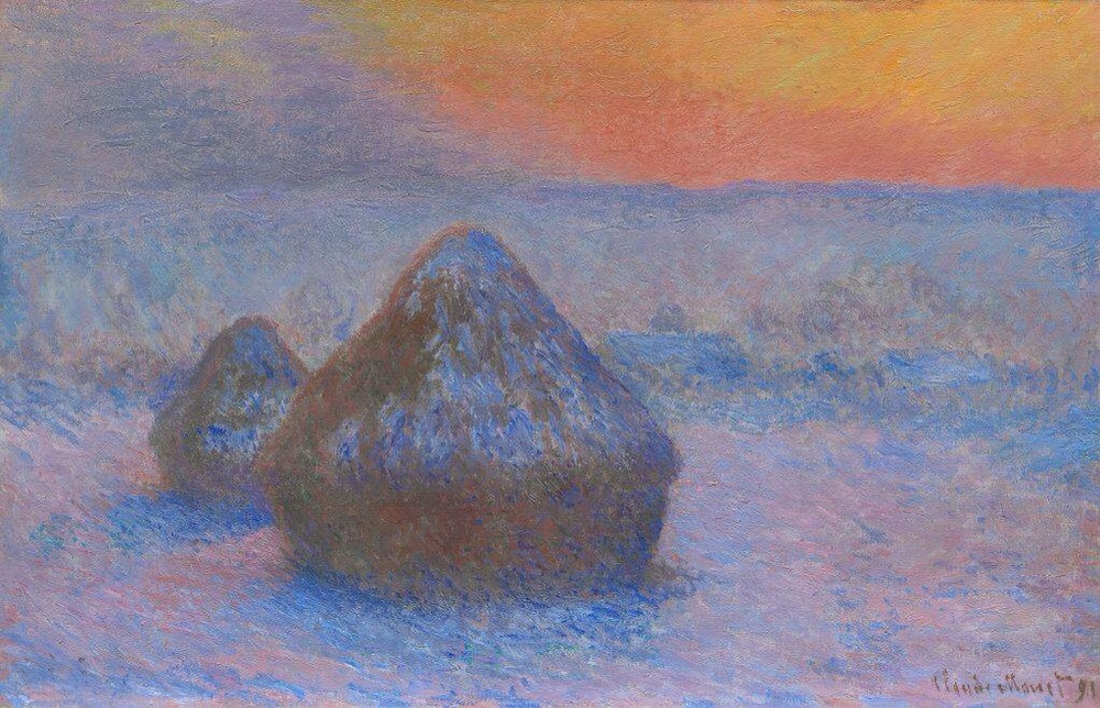 """Stacks of Wheat (Sunset Snow Effect) "" 1890/91 by Claude Monet . Oil on canvas, dimensions      25 11/16 "" x 39 1/2 "" Potter Palmer collection"