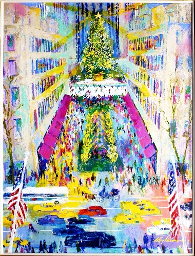 "Artist Leroy Neiman's ""Saks Fifth Avenue"" framed , signed , limited edition print, available at Vincent Farrell Gallery."