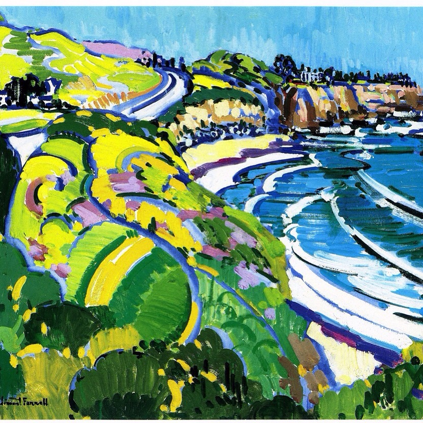 """Crystal Cove"" painted on location in 1990 by Vincent Farrell (1928-2008) Limited Edition Lithograph"
