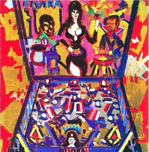 "Get your #spooky #pinball on ""Elvira meets Dracula&The Wolfman"" 👻🎃 1993 Oil &metal leaf on linen #vincentfarrellgallery #abstractimpressionism #happyhalloween #buyart #buyartonline #love #igart"