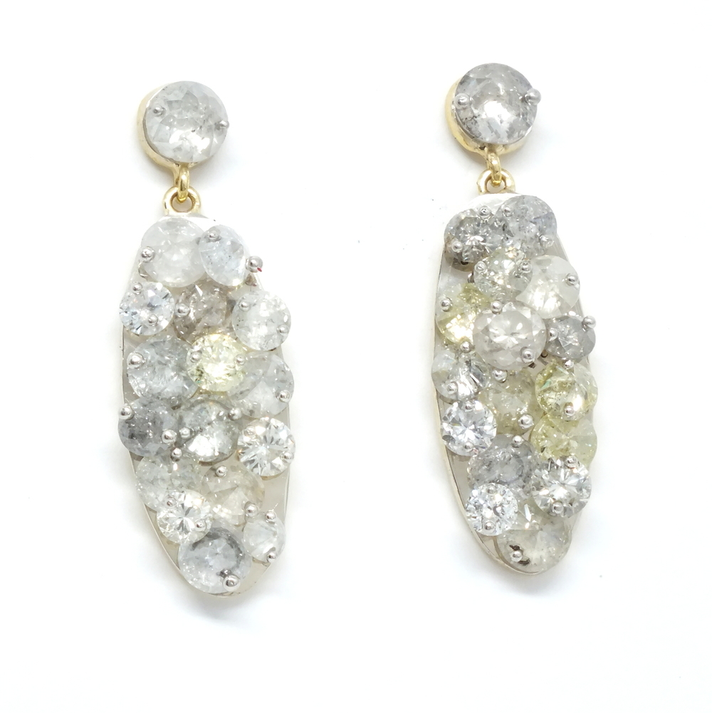 multi layered pin set diamond earrings
