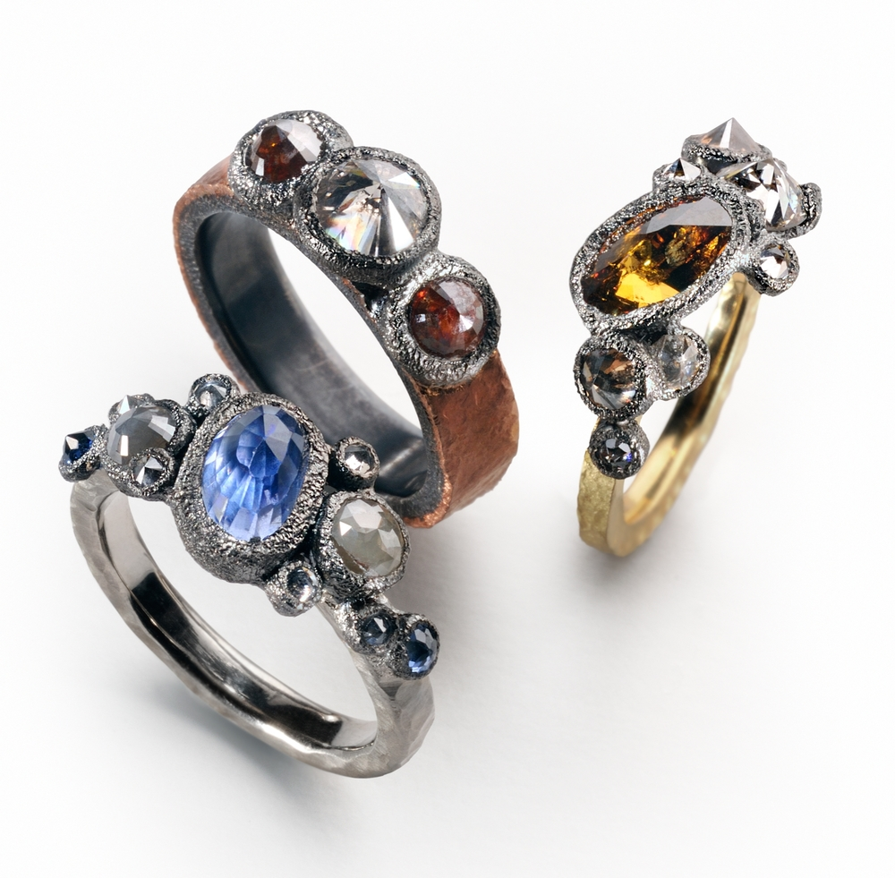mixed colored diamonds, sapphires, 18k yellow, 14k rose, 14k white gold