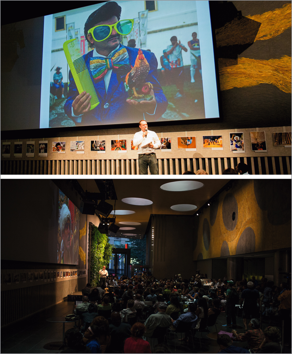 Lincoln Center, NY, July 2013 - Presentation to a full audience (300+) at exhibition opening, Lincoln Center, NY, with the presentation of the Maracatu Nação Estrela Brilhante