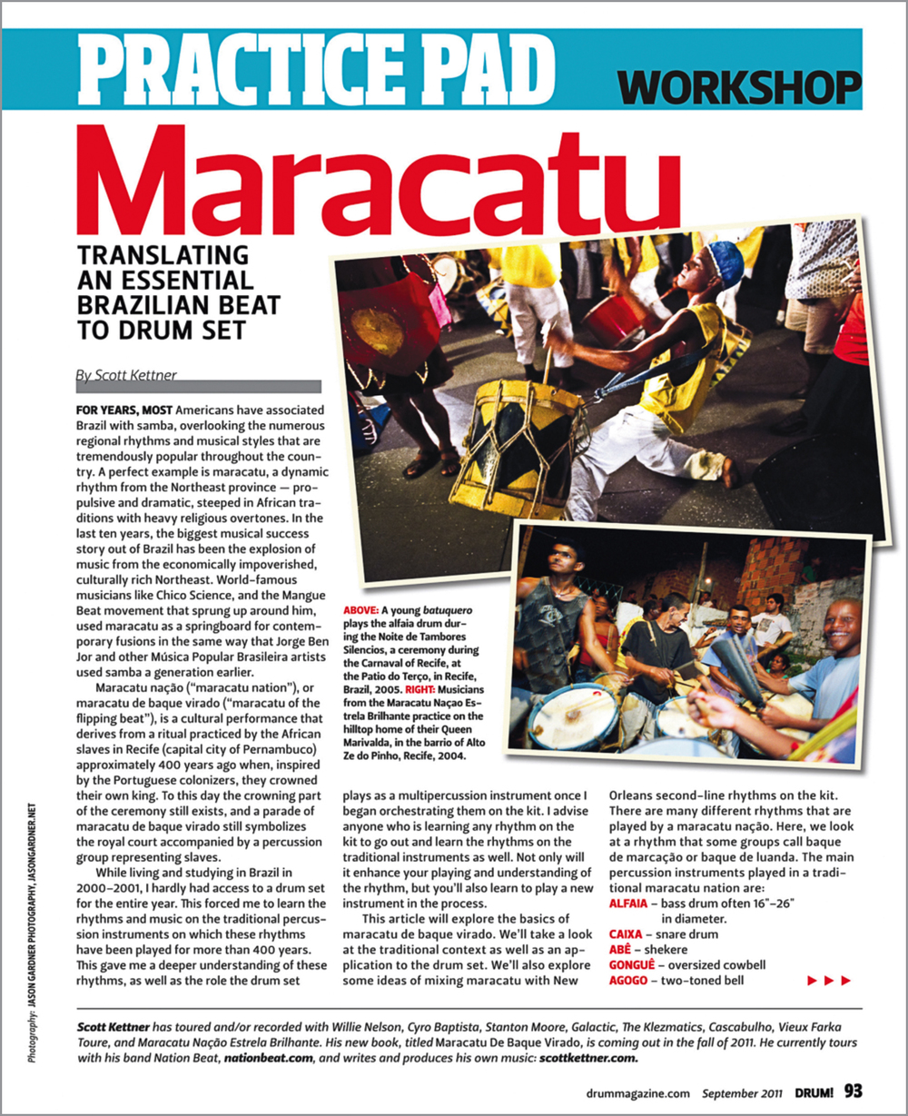 Images published in  Drum Magazine  in an article about the maracatu drumming style.