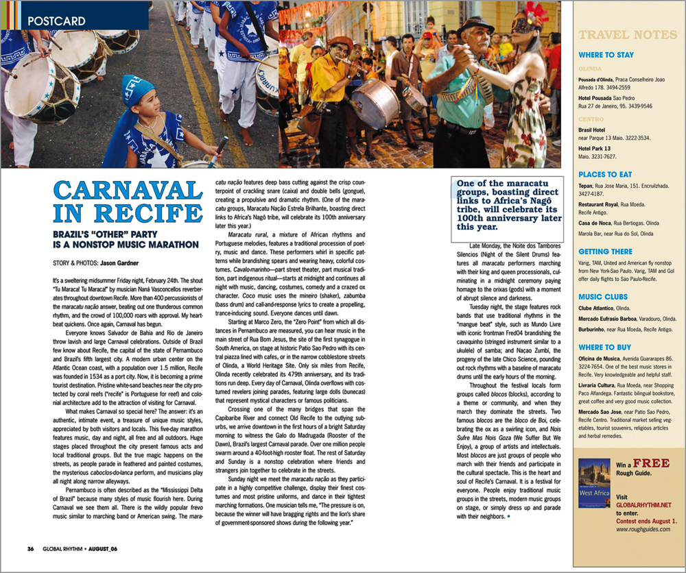 Travel article in world music magazine  Global Rhythm  about Carnaval in Recife.