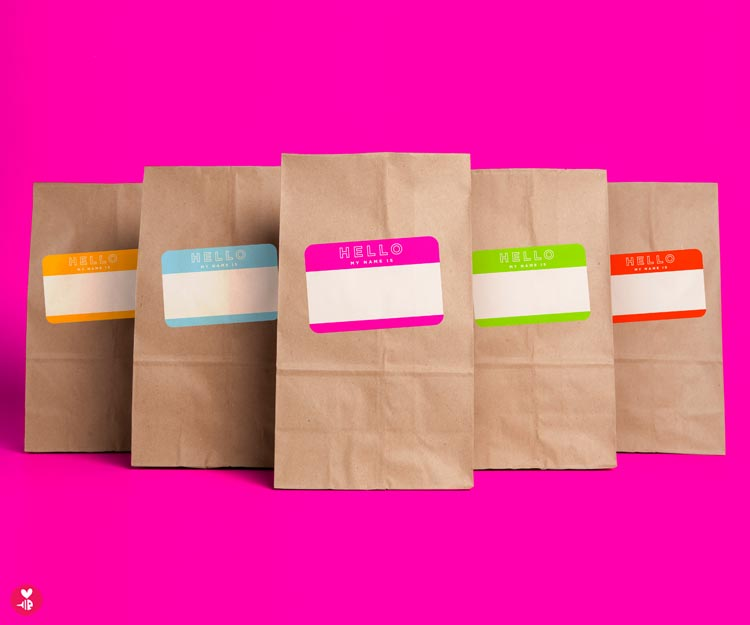 Hello Nametags Snack Sacks