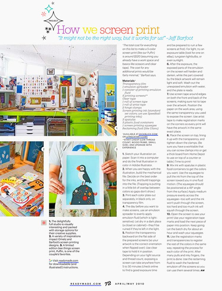 ...and in the magazine. Along with some shots of our studio!