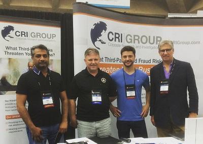ACFE UK Chairman Jim Oakes, second-from-left, meets with CRI Group's Zafar I. Anjum, Dardan Abazi and John Dejesu.
