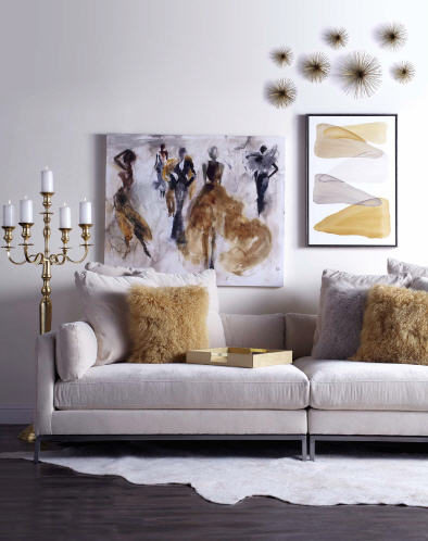 This image is from Z Gallerie...a very good illustration of how gold and white can be incorporated into a contemporary interior.