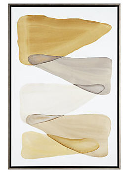 Art on the wall in gold, white and grey is soft, sophisticated and on trend...
