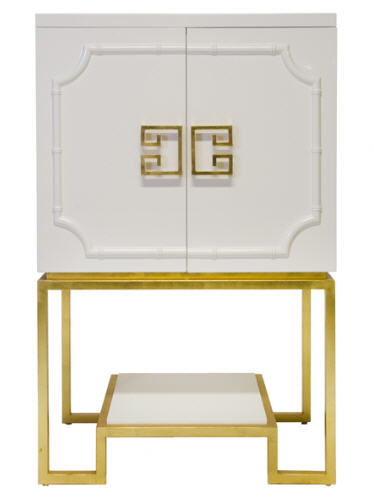 You should see this white lacquered bar in person..STUNNING... from World's Away.