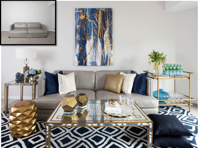 This was was the Casual Luxe look..Navy Blue and Gold are an instant 'dose of luxury'...the graphic pattern and reflective finishes bring a dose of eclectic sophistication.