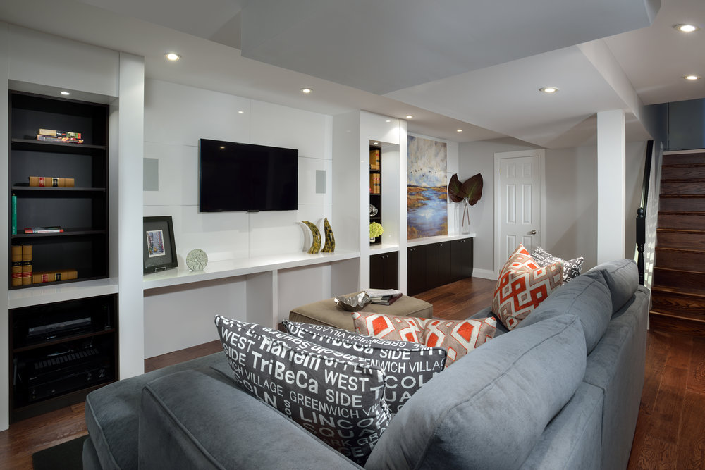 A basement turned into a comfortable fun space