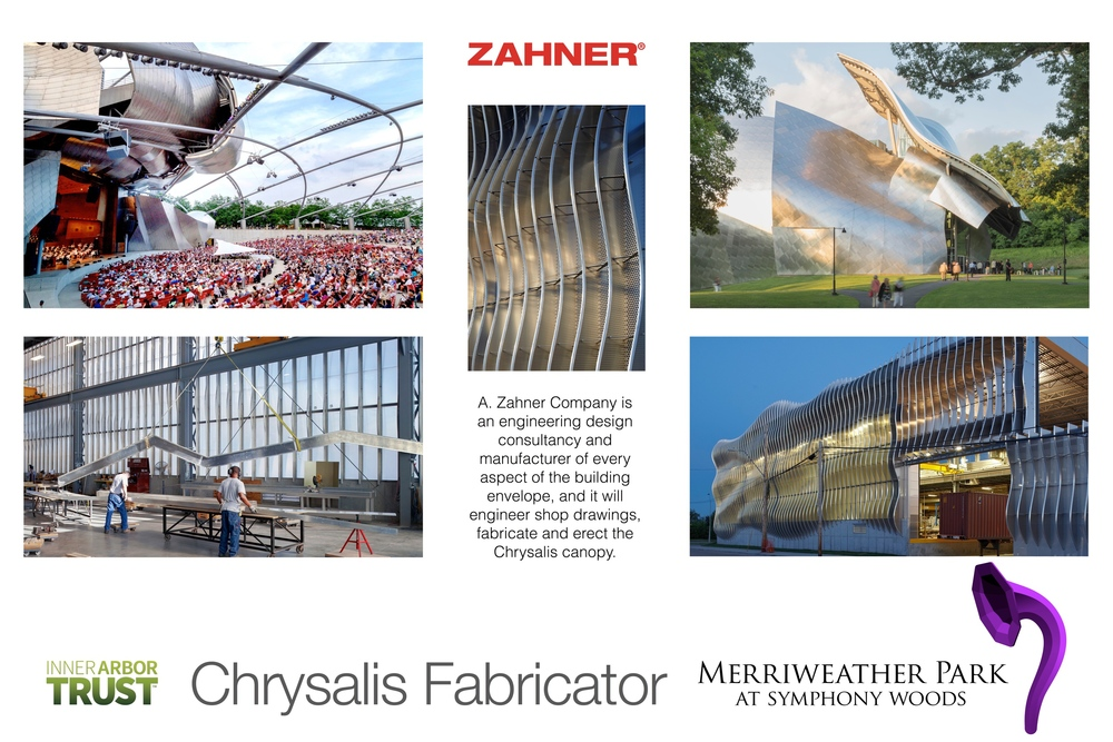 Using proprietary techniques, Zahner will fabricate the Chrysalis cannopy in Kansas City, and assemble it in the Park in Columbia.