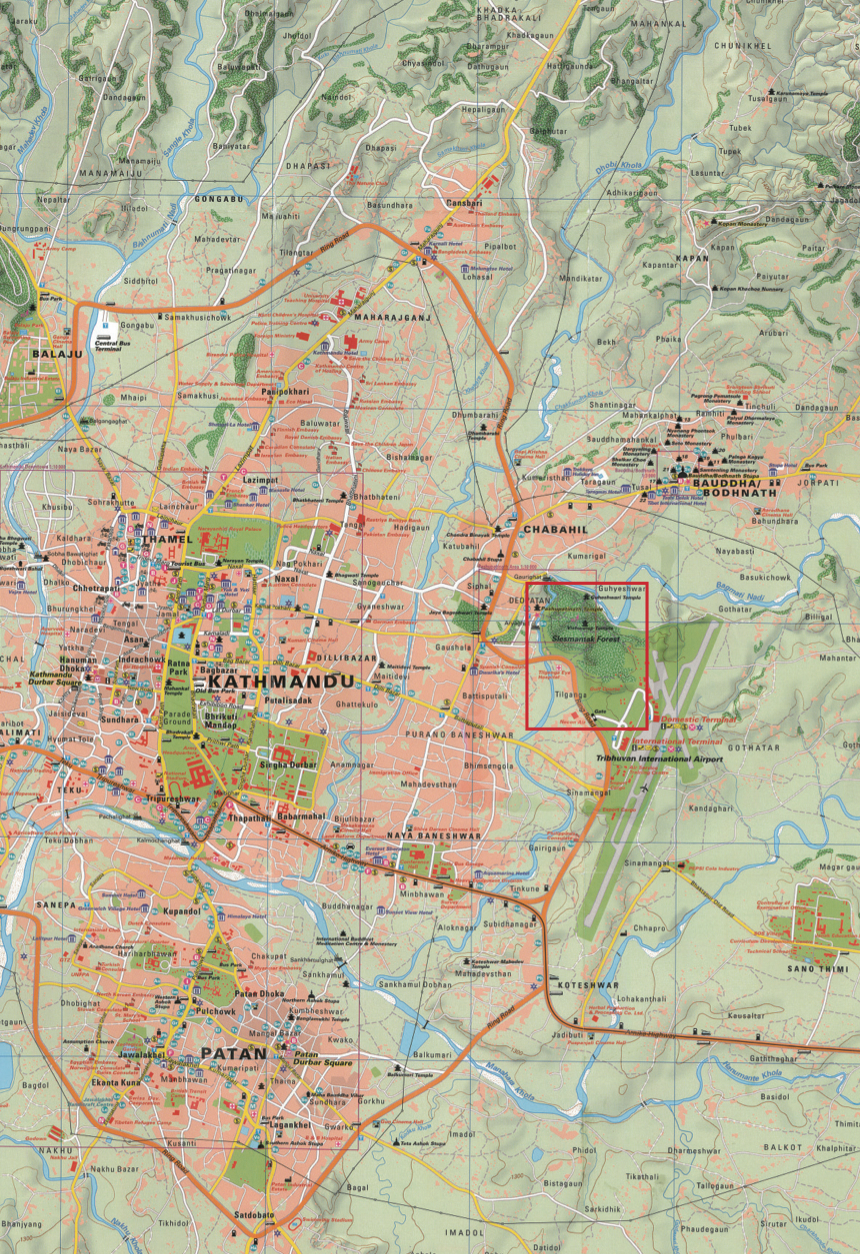 Map of Kathmandu Highlighing Pashupatinath Temple Area