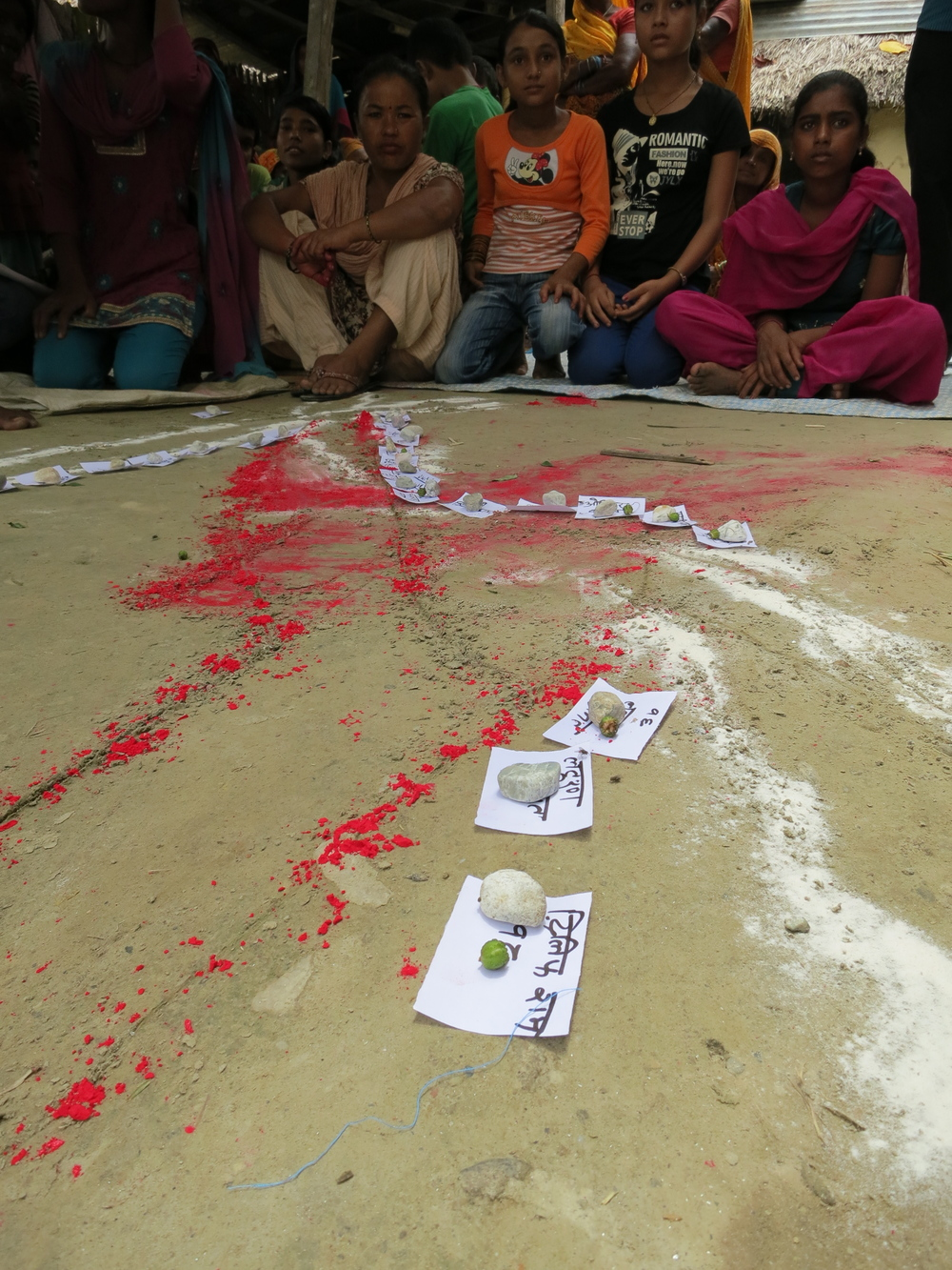Red tika representing water channels and flour demonstrating roads.