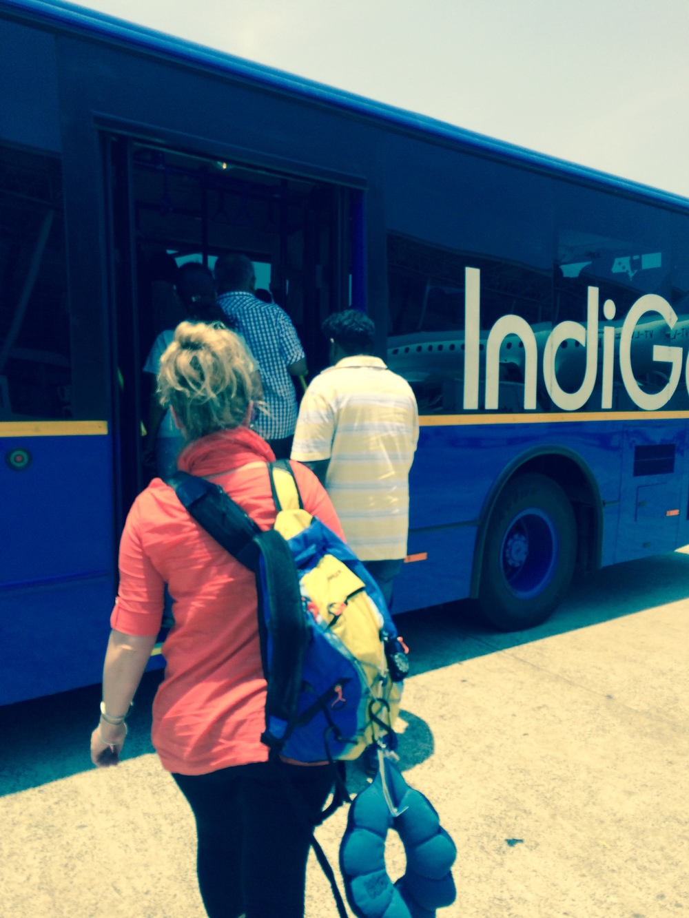 Boarding a bus to our terminal at Chennai airport