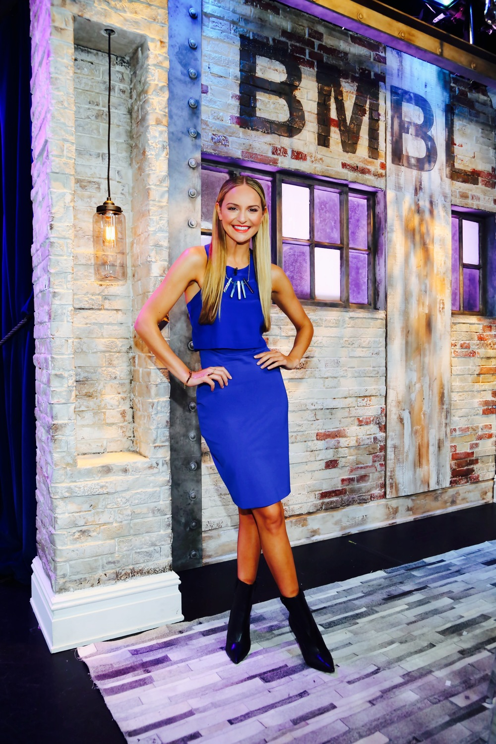"""Style Expert  Jackie Miranne  on Set of the  VH1's Big Morning Buzz  wearing the """"Allison Necklace in Peacock"""" and the GiGi Hand Jewels.  3/03/14  Photo: Steven Stuts"""