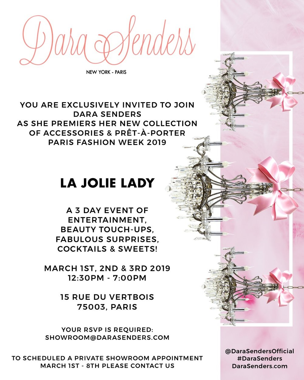 DARA SENDERS - PARIS FASHION WEEK F/W19 PRESENTATION    MARCH 1ST - 3RD, 2019 - RUE DU VERTBOIS