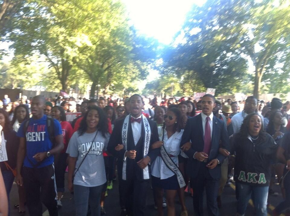 Howard U makes it to the national mall for the 50th anniversary of the '63 March on Washington. We're here!