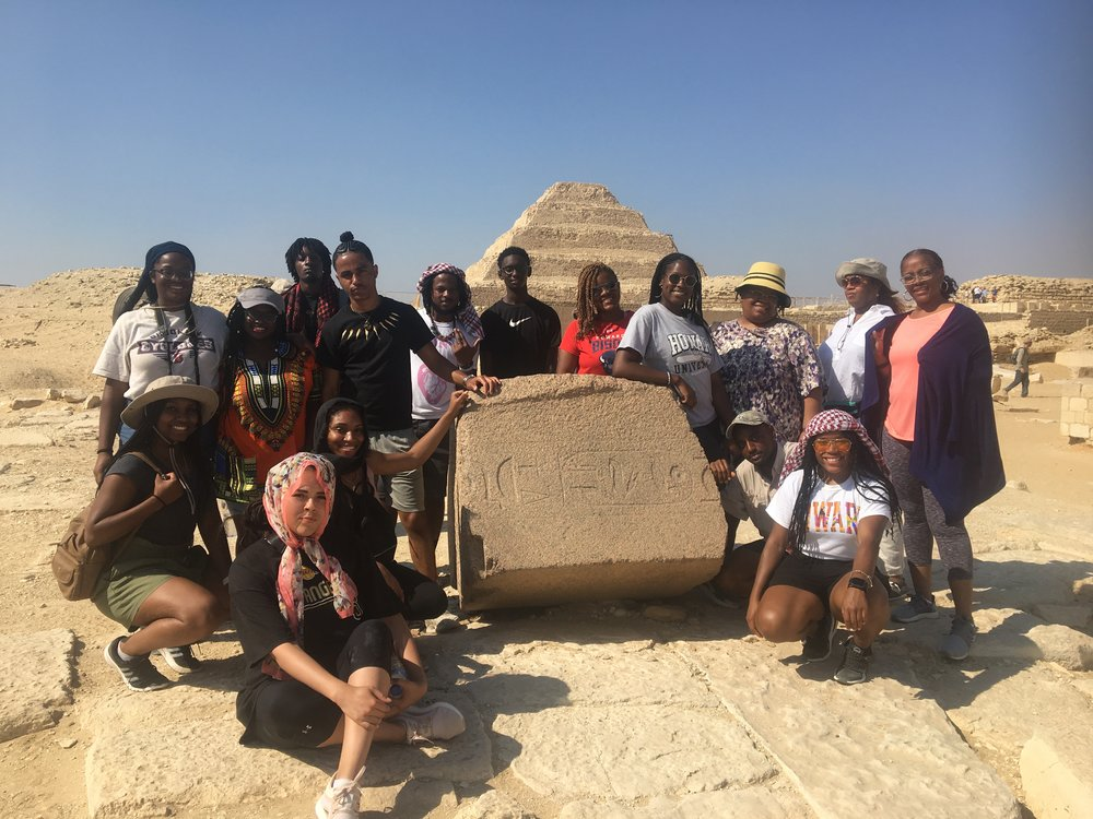 - #HUStudyAbroadKemet2018 at the pyramid of Unas, Saqqara. Step Pyramid of Imhotep for Per Uah Djoser in background