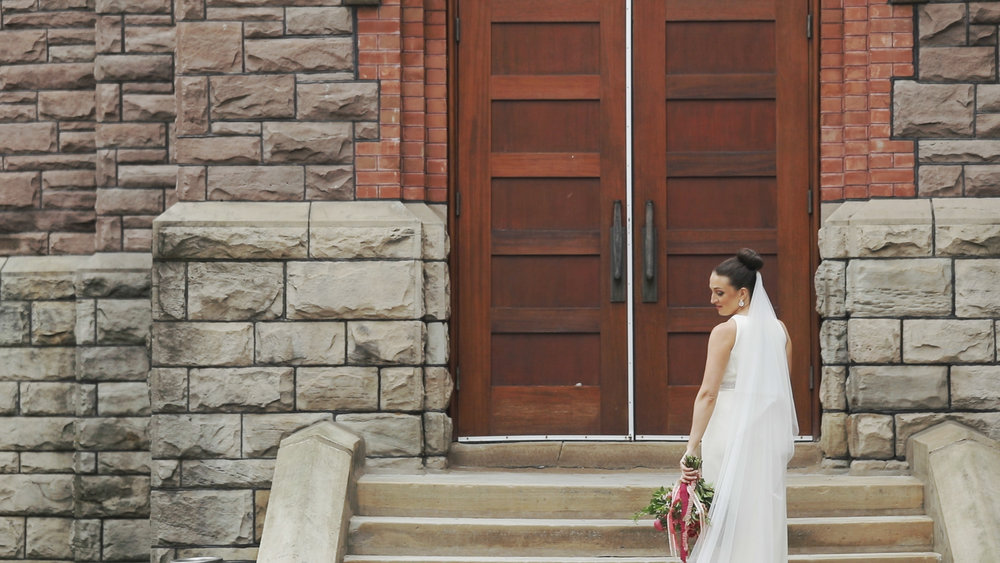 Bride walking into the wedding church