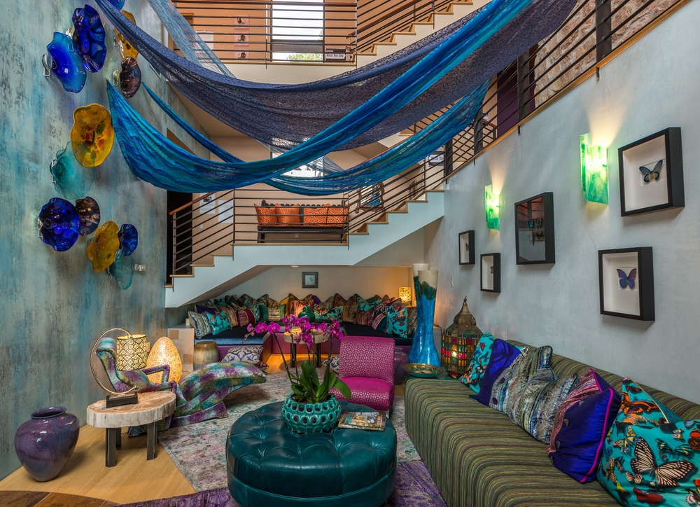 ShowHouse Santa Fe 2014 - Recreation Lounge Interiors by Marty Wilkinson, Photo by Lou Novick