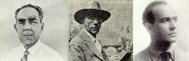 (From Left to Right) Raymond Jonson, Gustave Baumann, Witter Bynner