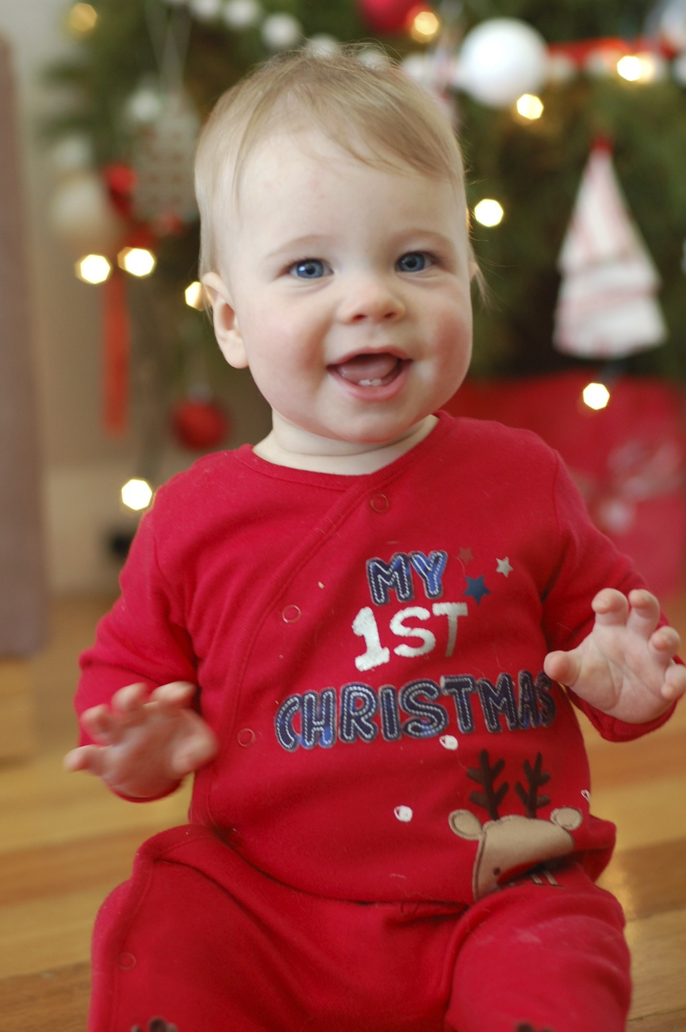 Loving his first Christmas!