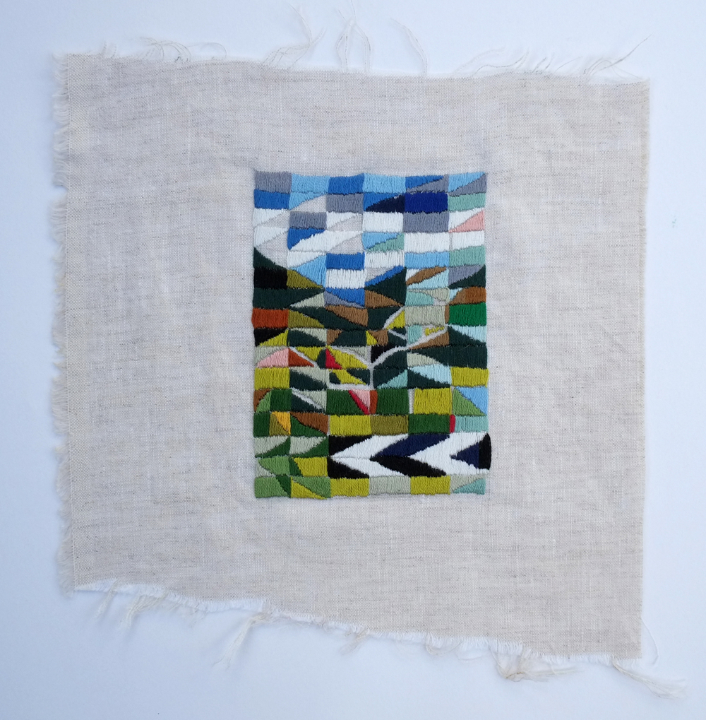 Middle of the Road  2014  cotton thread on linen   22 x 21cm