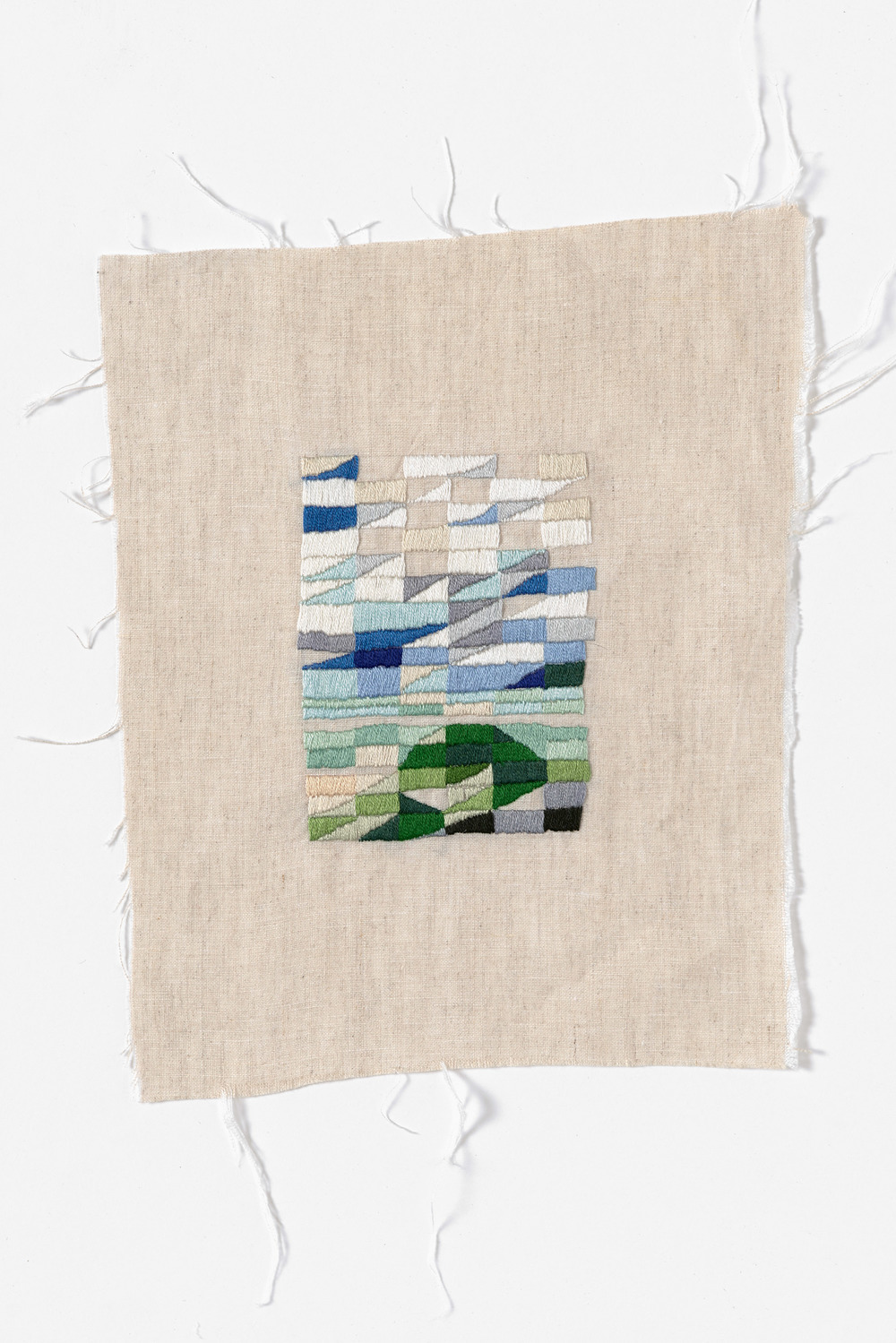 Carpark, Venus Bay  2015 Cotton thread on linen 21 x 27cm
