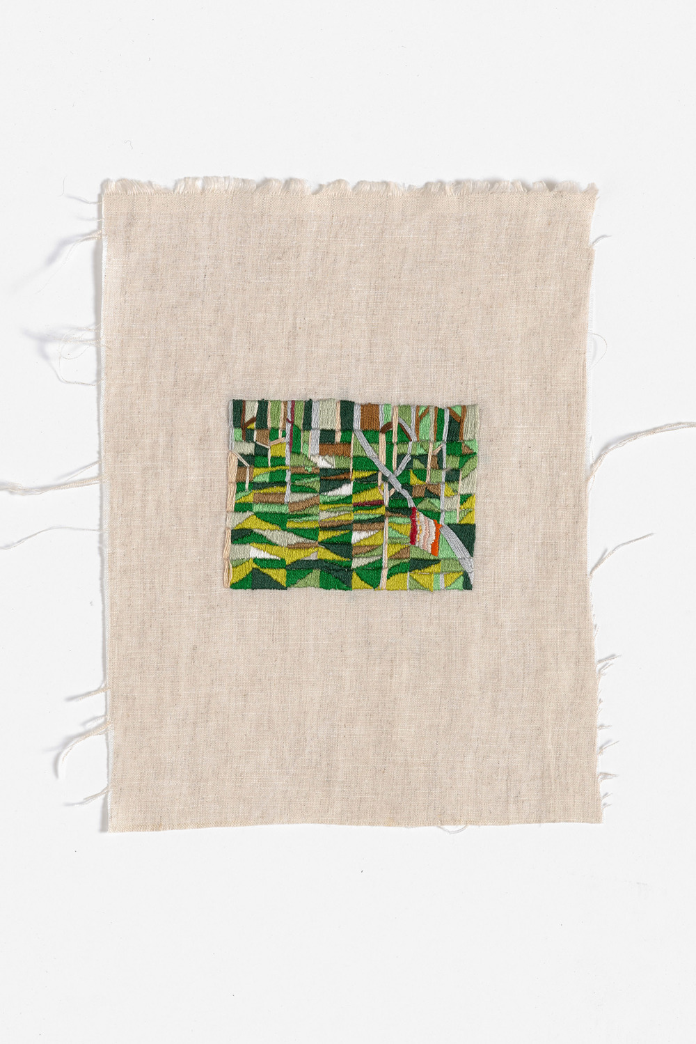 Back of camp, Walkerville  2015 Cotton thread on linen 19 x 25cm
