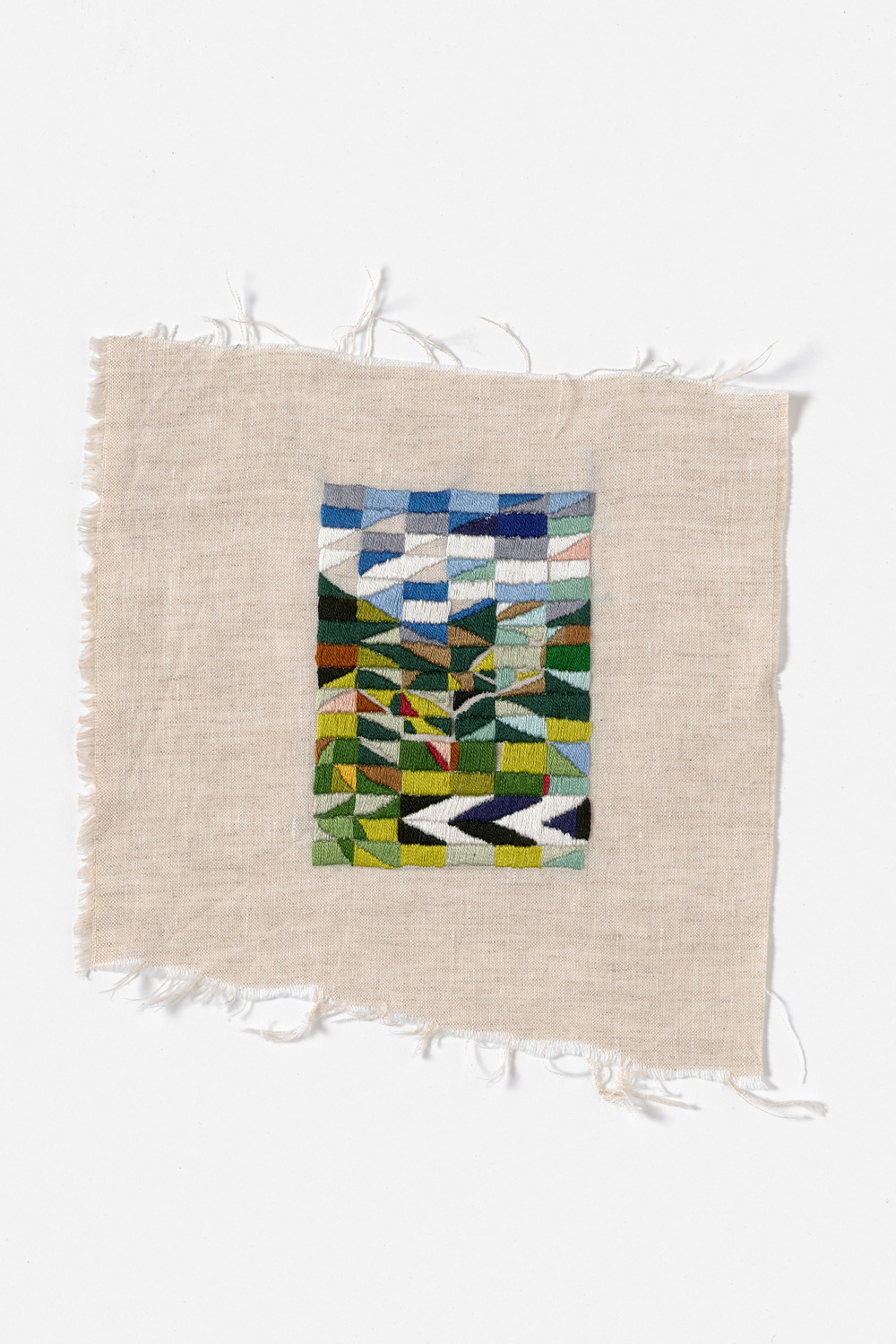 Middle of the road  2014 Cotton thread on linen 22 x 22cm