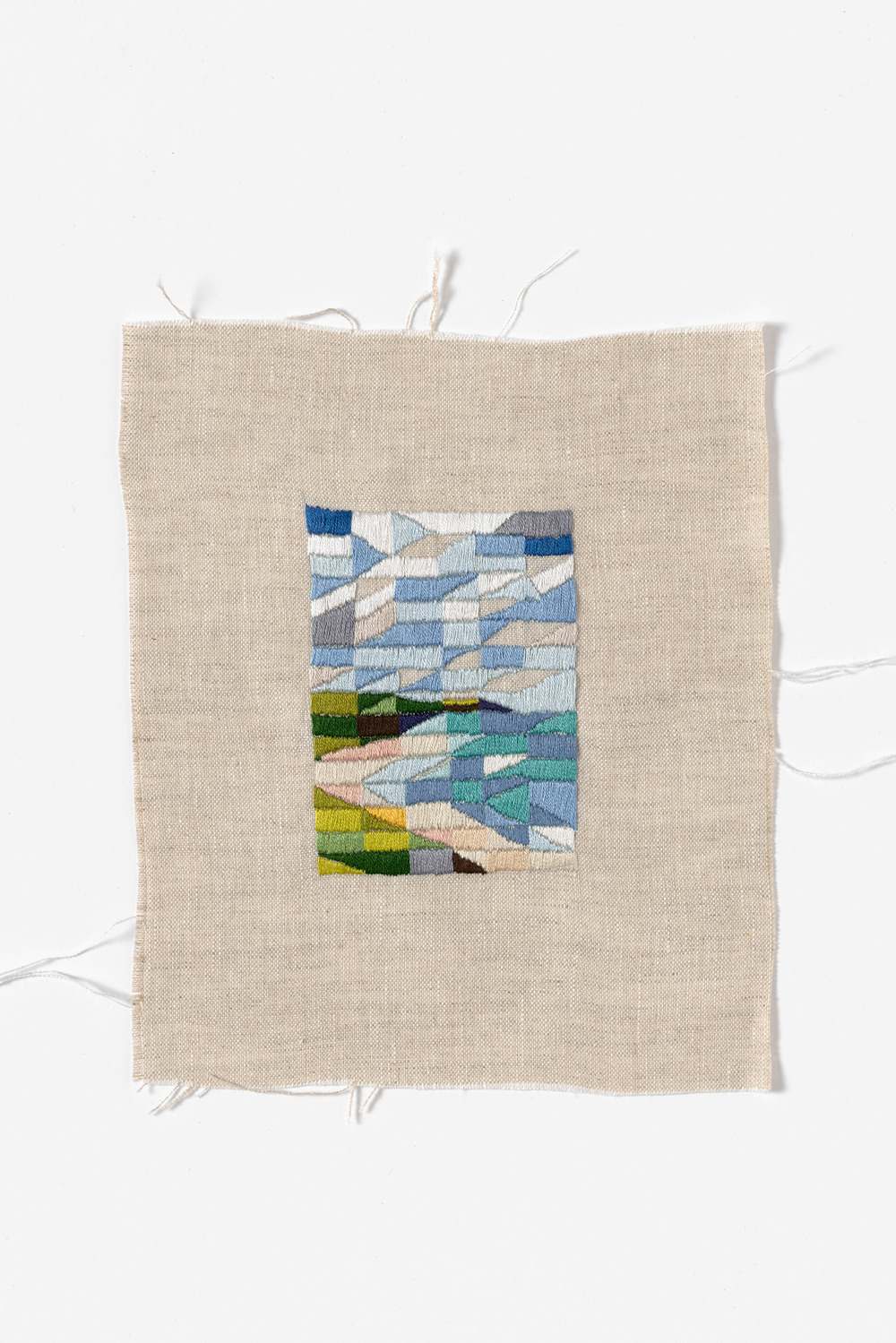 Looking North, Venus Bay 2015 Cotton thread on linen 21 x 27cm