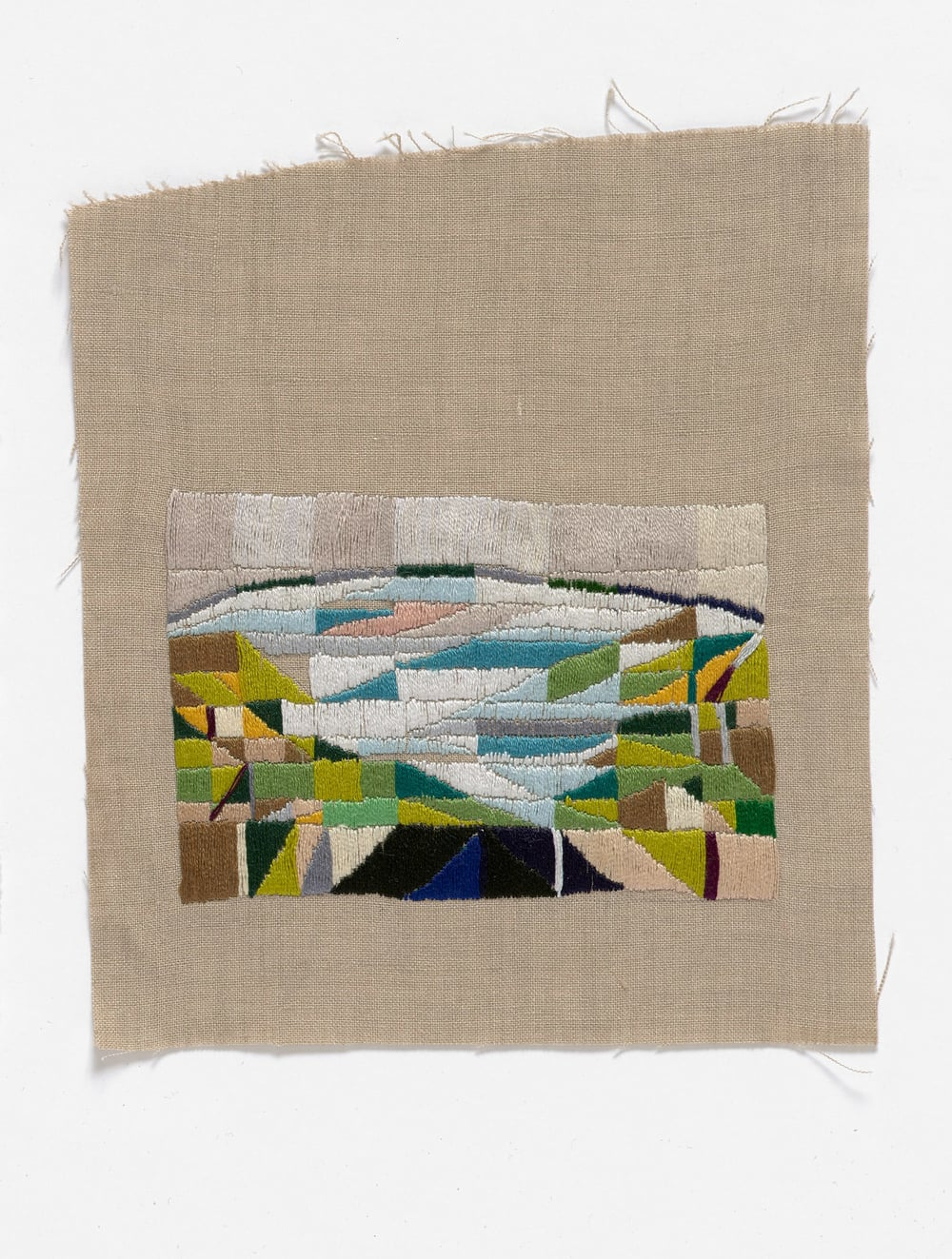 Roadtrip to Melinda's show 2015 Cotton thread on linen 17 x 20cm