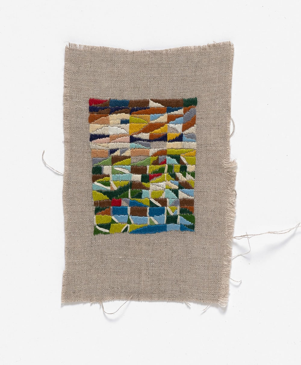 Longridge  2014 Cotton thread on linen 15 x 17cm