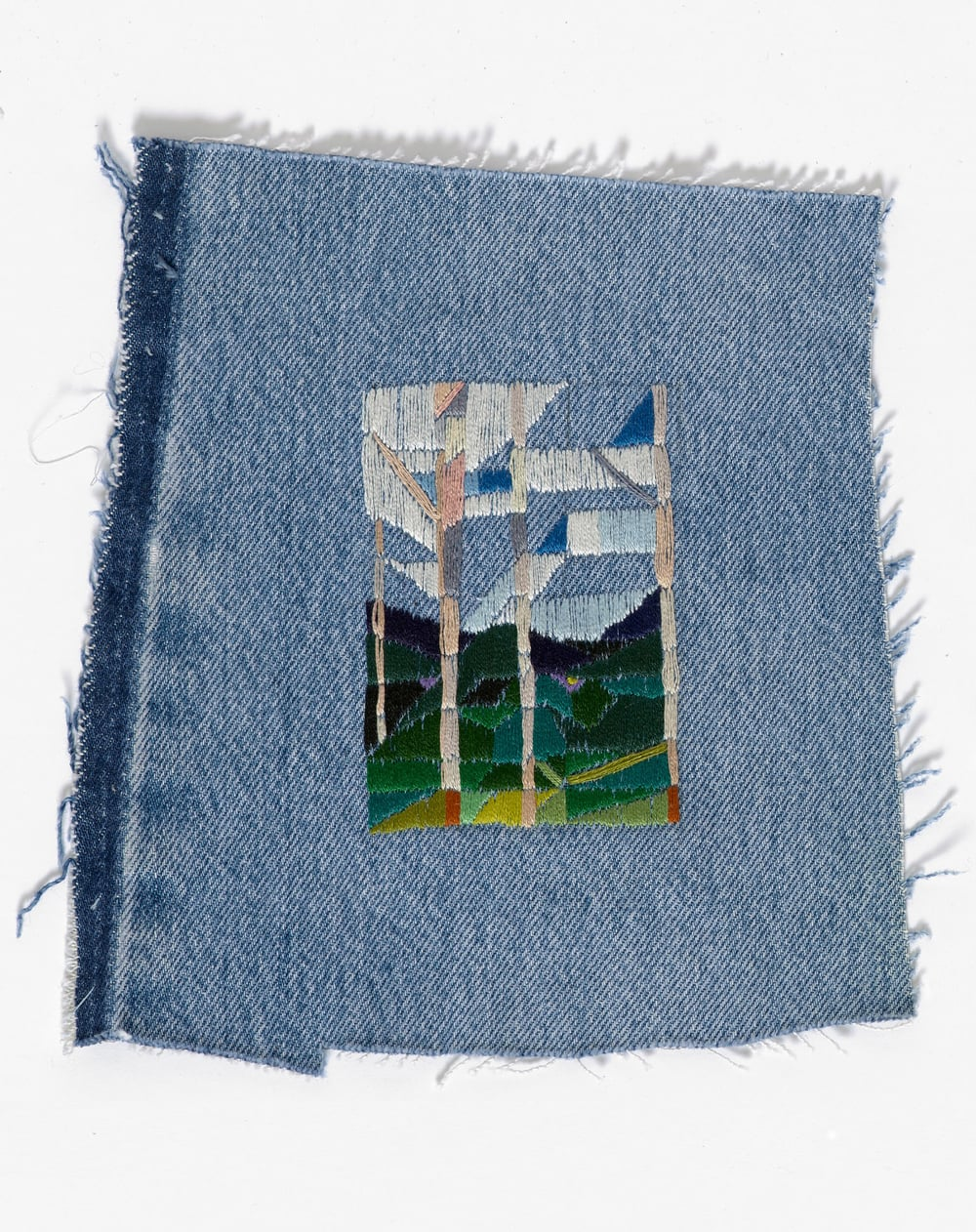 Return to the farm II 2015 Cotton thread on denim 18 x 20.5cm