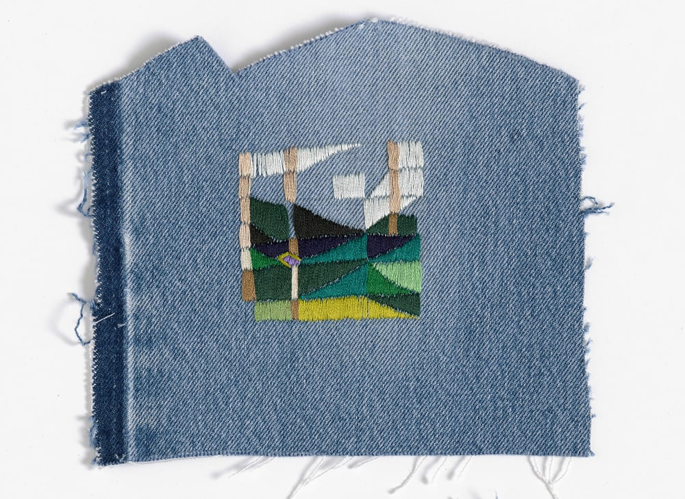 Return to the farm 2015 Cotton thread on denim 20 x 17cm