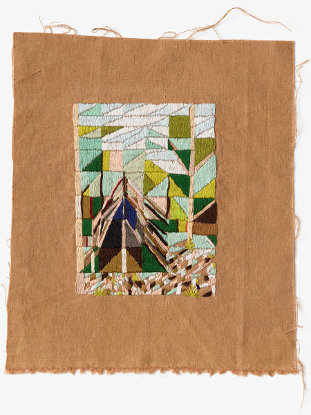 Parklands cubby 2016 Embroidery thread on naturally dyed linen 27 x 24cm