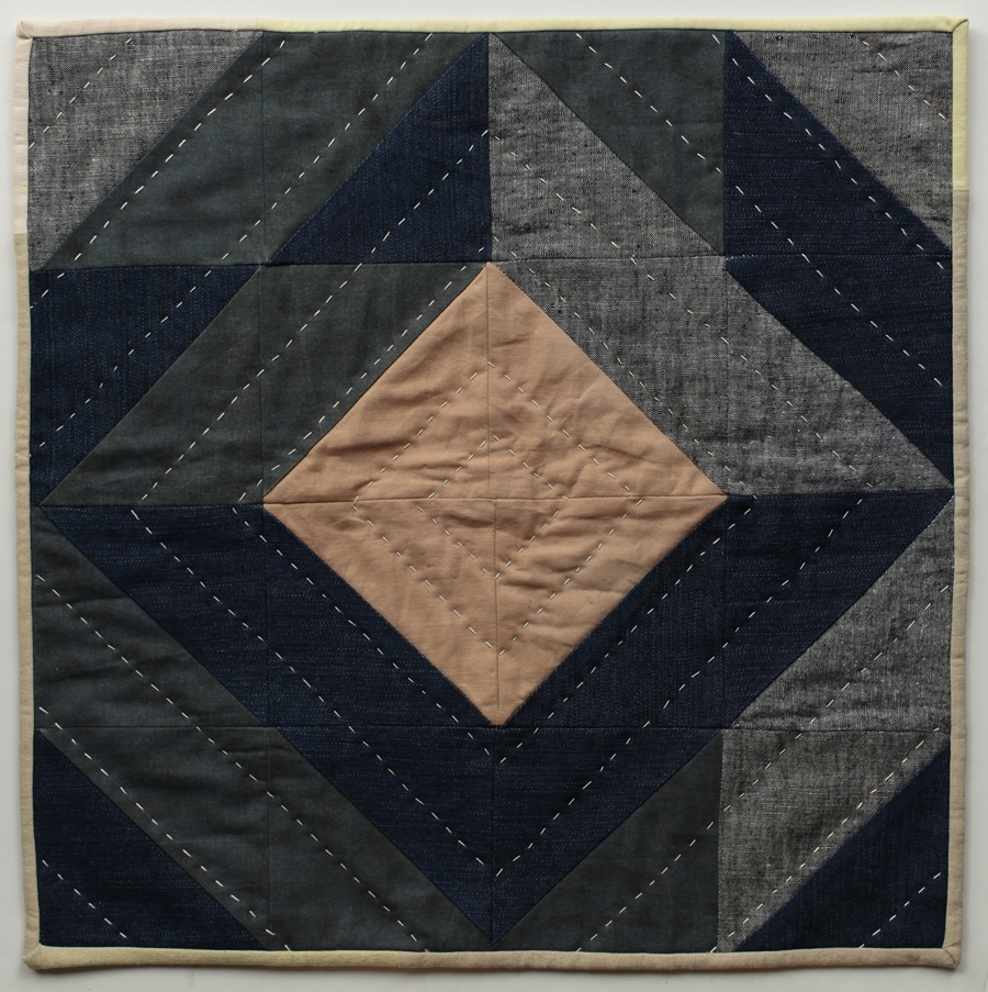 For Aunty Doris 2015 Linen, denim, naturally dyed cotton fabric & thread 47 x 47cm
