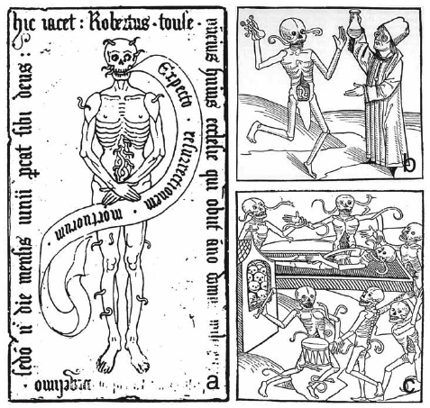 "Fig. 2: Close observation of decomposition of human corpses built the basis for these figures. a: Grave of ROBERT TOUSE who ""experts the resurrection of the dead"" (exact time unknown, from LANGLOIS 1852); b, c: ""Dances of the Death"" (ca. 1460, from STAMMLER 1948). Note that maggots are displayed similar to snakes or worms, and that all heads are already skeletonized due to the fact that adults preferably deposit their eggs on eyes, nose, ears and mouth"