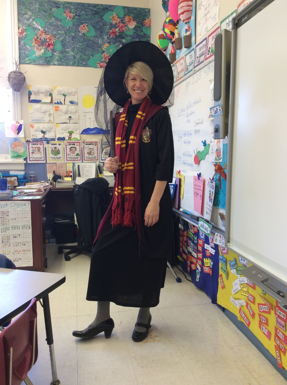 Mrs. Costello is Professor Dumbledor from Harry Potter