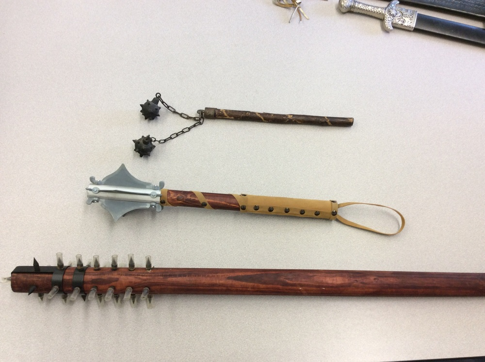 Top: Morning Star.     Bottom two: Various maces