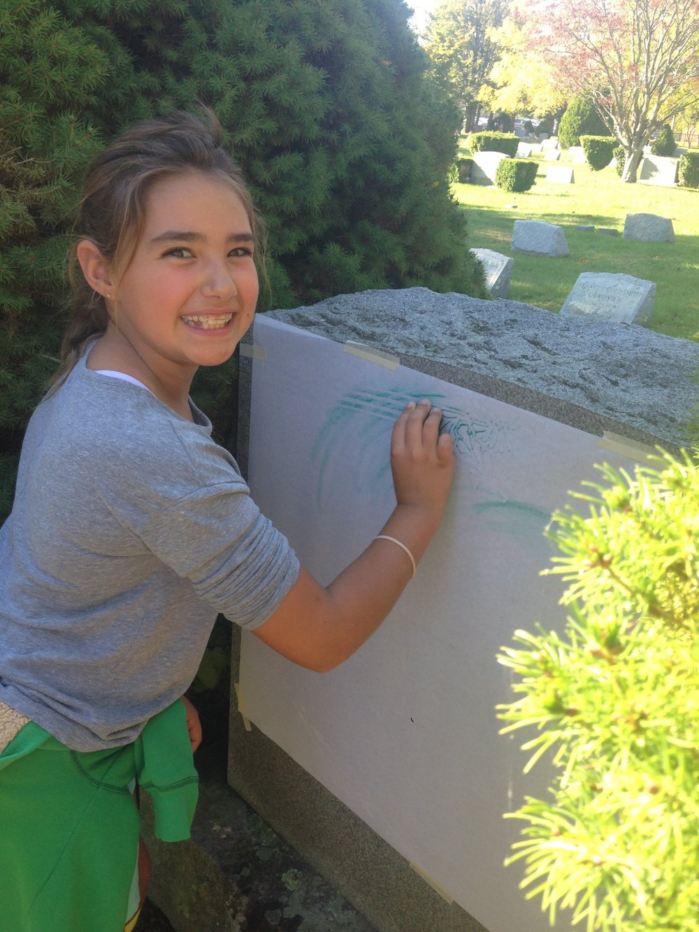 Madeline found a beautiful granite headstone