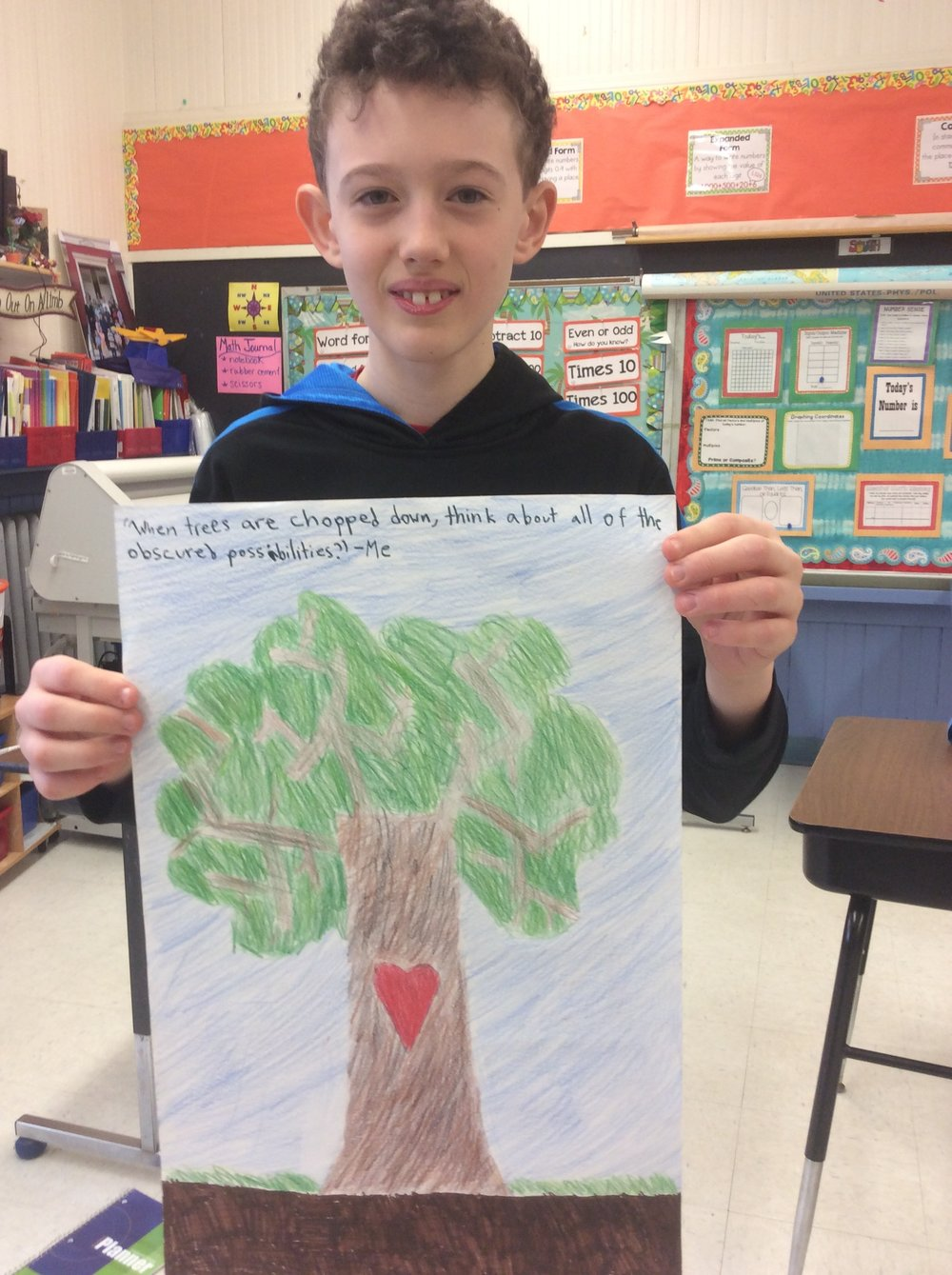 Henry created his own quote about the importance of trees!