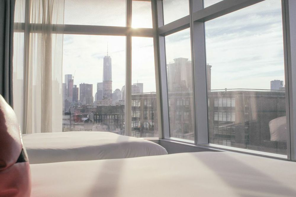 waiting for saturday : afternoon light, downtown manhattan skyline, the standard, east village