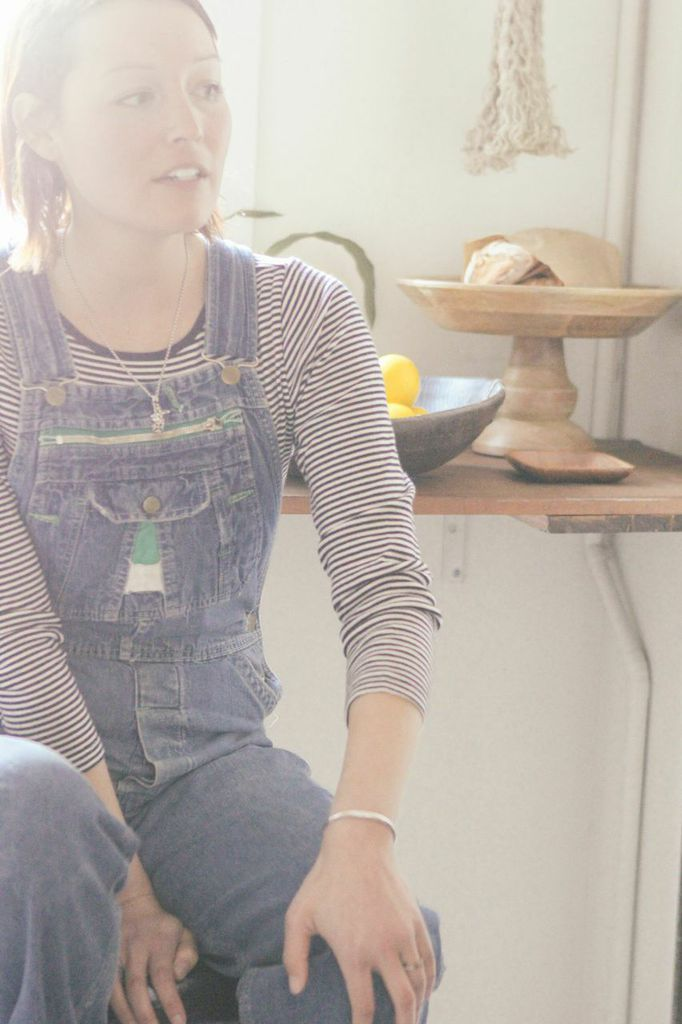 waiting for saturday : rachael wang vintage overalls joe fresh t-shirt